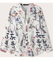 camicetta casual a maniche lunghe con collo a fessura con stampa floreale plus per donna