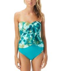 vince camuto rainforest printed draped tankini top women's swimsuit