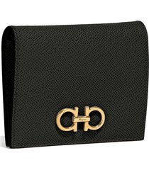 women's salvatore ferragamo gancini leather french wallet - black