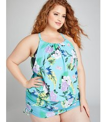 lane bryant women's blouson swim tankini top with no-wire bra 24 tropical paradise