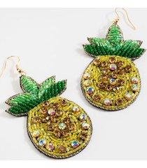 alexis beaded pineapple drop earrings - yellow