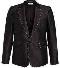 men's saint laurent jardin noir embellished wool & silk jacquard sport coat, size 50 eu - black