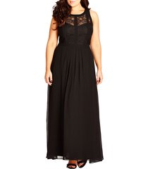 plus size women's city chic lace panel a-line gown, size small - black