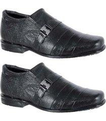 kit dois pares de sapato social couro infantil leoppé - masculino