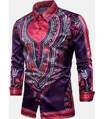 stampa etnica stytle colletto rovesciato manica lunga professionale per uomo camicia