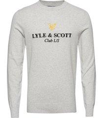 club l/s knitted jumper gebreide trui met ronde kraag grijs lyle & scott