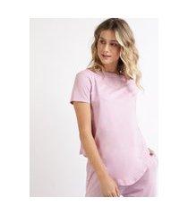 camiseta de algodão básica com nó manga curta decote redondo lilás