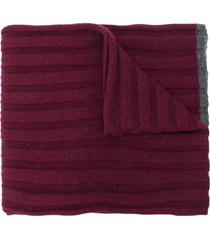 brunello cucinelli ribbed knit scarf - red