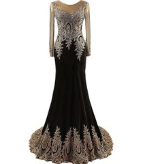 lemai black jersey mermaid gold lace rhinestones prom evening dresses long sl...