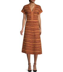 striped tweed a-line dress