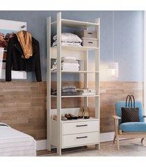 closet 2 gavetas 4 prateleiras cla1003 off white - completa móveis