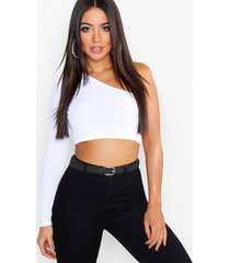 one shoulder rib basic crop top, white