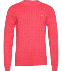 cotton cable crew gebreide trui met ronde kraag roze gant