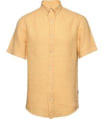 dyed linen sawsett s/s overhemd met korte mouwen geel mads nørgaard