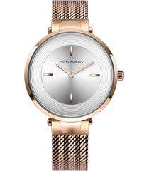 mini focus fashion orologio da polso multicolor in acciaio inossidabile con cinturino senza numeri per le donne