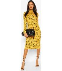 dalmatian print turtle neck midi dress, mustard