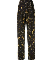 andrea marques pleated tie waist trousers - black