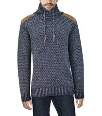 xray men's shawl collar sweater with faux leather piecing