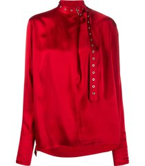 marques'almeida silk belted collar blouse - red