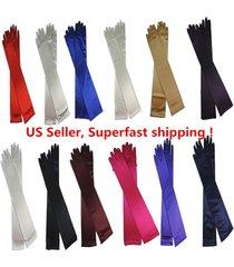 """women's party wedding 22"""" long satin finger gloves"""