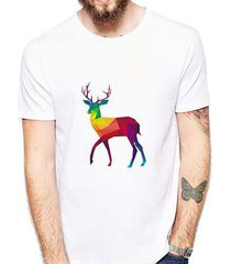 camiseta veado colorido masculina