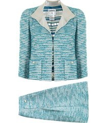 chanel pre-owned woven skirt suit - blue