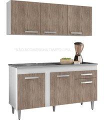 armário aéreo parma e balcão gabinete de pia montreal 150cm branco/castanho - lumil móveis