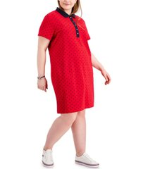 tommy hilfiger plus size dot print short-sleeve polo dress, created for macy's