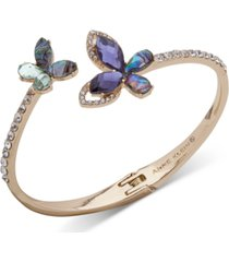 anne klein gold-tone pave & stone butterfly bangle bracelet