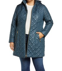 plus size women's via spiga quilted coat with removable hood, size 3x - blue