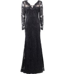 v-neck lace overlay embroidered gown