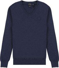 sweater dark cobalt heather polo ralph lauren m/l unicolor c/v slim fit pima cotton ppc