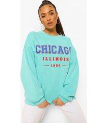 petite overdye oversized chicago sweater, aqua