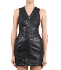 marine serre black menina leather dress