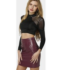 black crew neck long sleeves crop top with sheer mesh detials