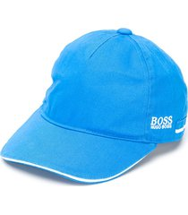 boss kidswear embroidered logo cotton cap - blue
