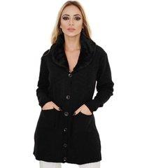 casaco sobretudo gola de pele com botões livora preto