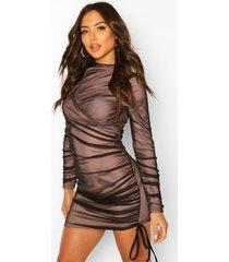 asymmetrische mini-jurk met hoge hals, zwart