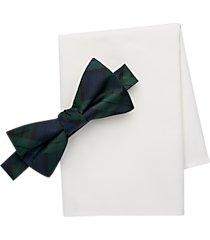 tommy hilfiger tartan plaid pre-tied bow tie & pocket square