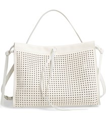 boss katlin small perforated leather tote - white