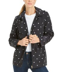 charter club petite dot-print hooded anorak jacket, created for macy's