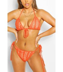 knitted crochet triangle tie sunset bikini, orange