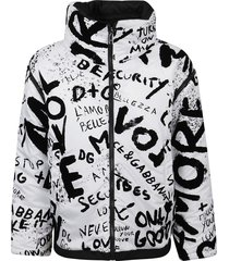 dolce & gabbana printed zip quilted jacket