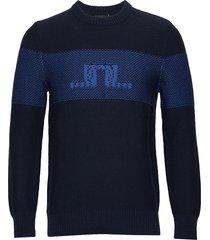 thorn-summer knit gebreide trui met ronde kraag blauw j. lindeberg