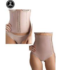 kit cinta modeladora abdominal e cinta pós parto tivesty chocolate