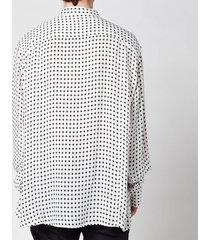 balmain men's oversized spotted cupro shirt - white - 39/s