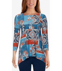 ruby rd. plus size medallion patchwork printed handkerchief top