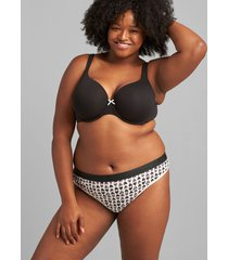 lane bryant women's cotton thong panty with wide waistband 14/16 watercolor hearts