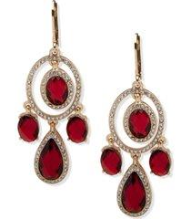 anne klein gold-tone stone & crystal chandelier earrings