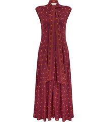 wales bonner madras floral print tie neck midi dress, size 2-4 us in bordeaux/violet/mandarin at nordstrom